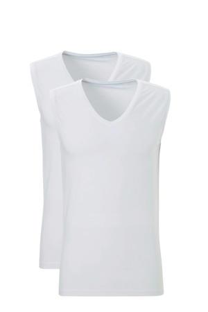 slimfit hemd (set van 2) wit