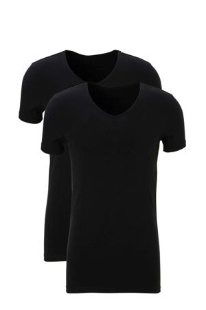 extra lang slimfit T-shirt (set van 2) zwart