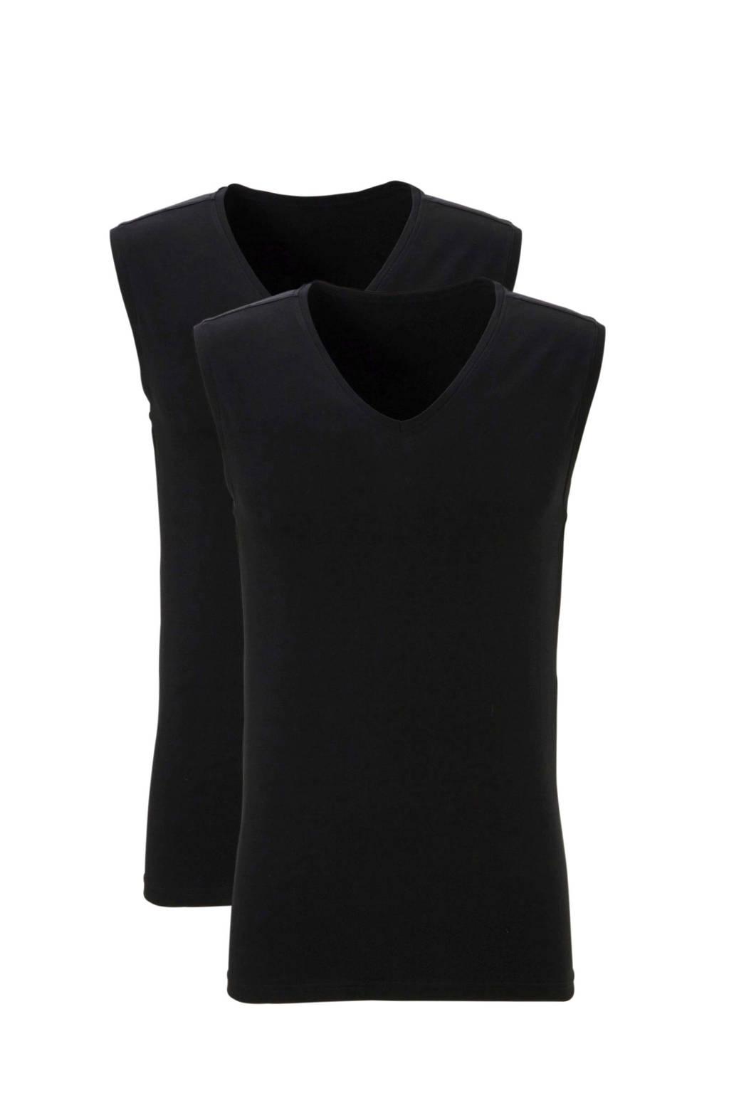 ten Cate slimfit hemd (set van 2) zwart, Zwart