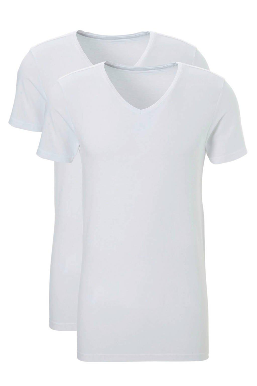ten Cate extra lang slimfit T-shirt (set van 2) wit, Wit
