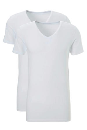 extra lang slimfit T-shirt (set van 2) wit