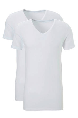 slimfit T-shirt (set van 2) wit