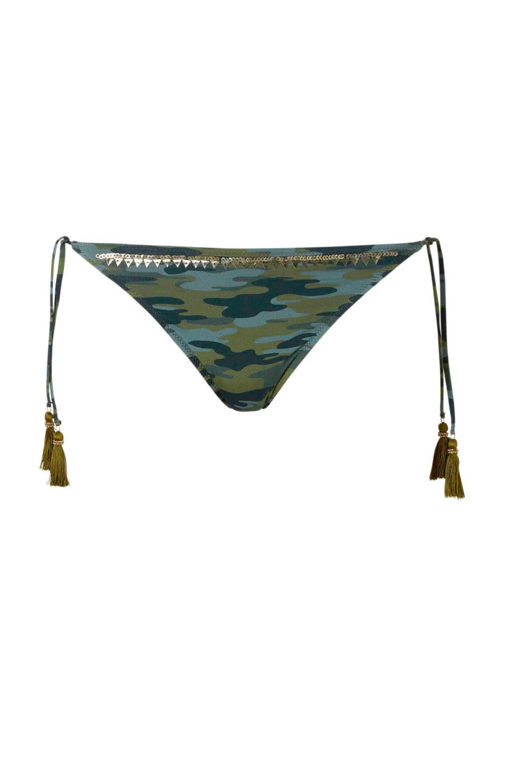 Watercult strik bikinibroekje in een camouflage print groen, Groen
