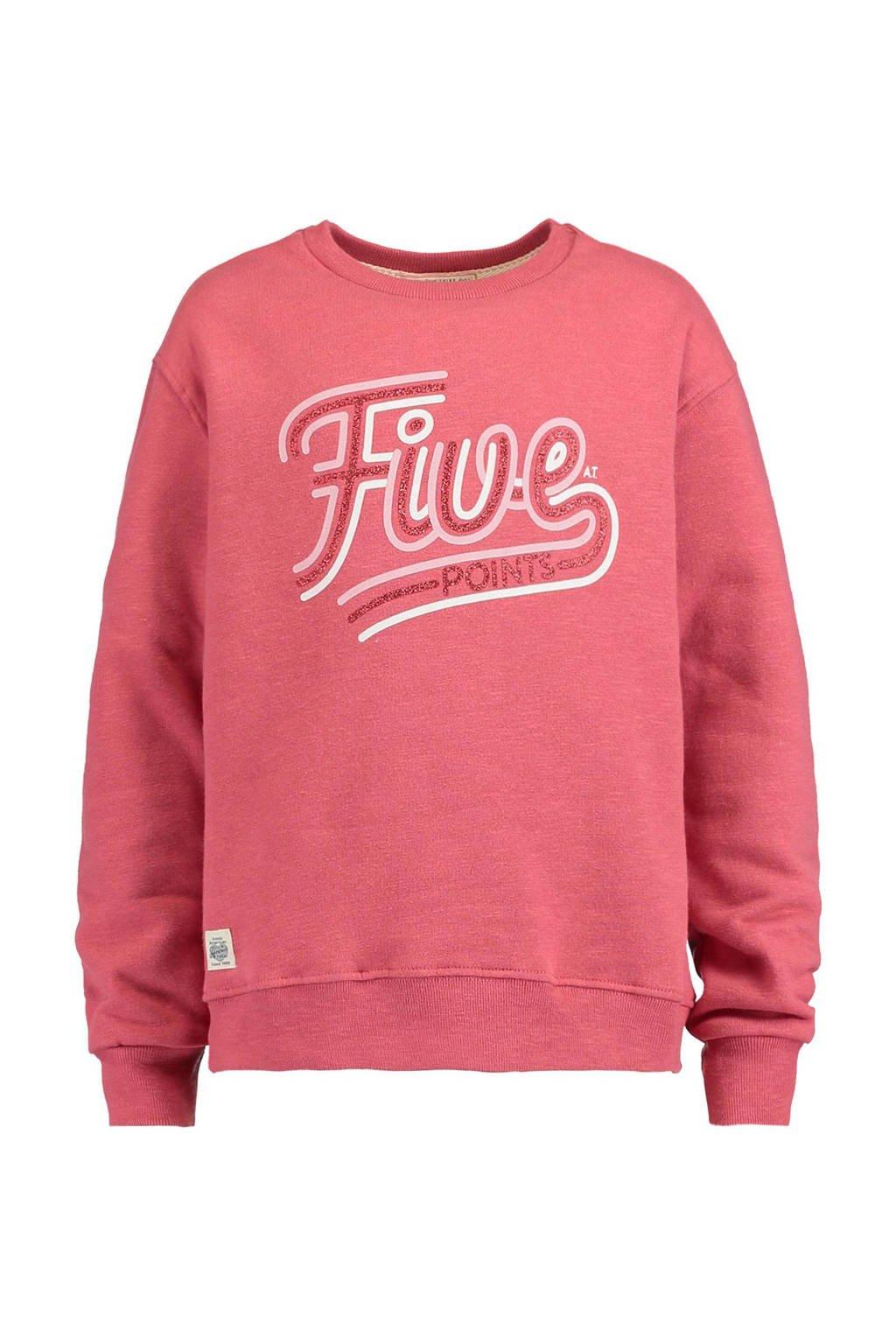 America Today Junior sweater Sasha met tekst opdruk roze, Roze