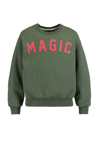 sweater Senna met tekstopdruk groen