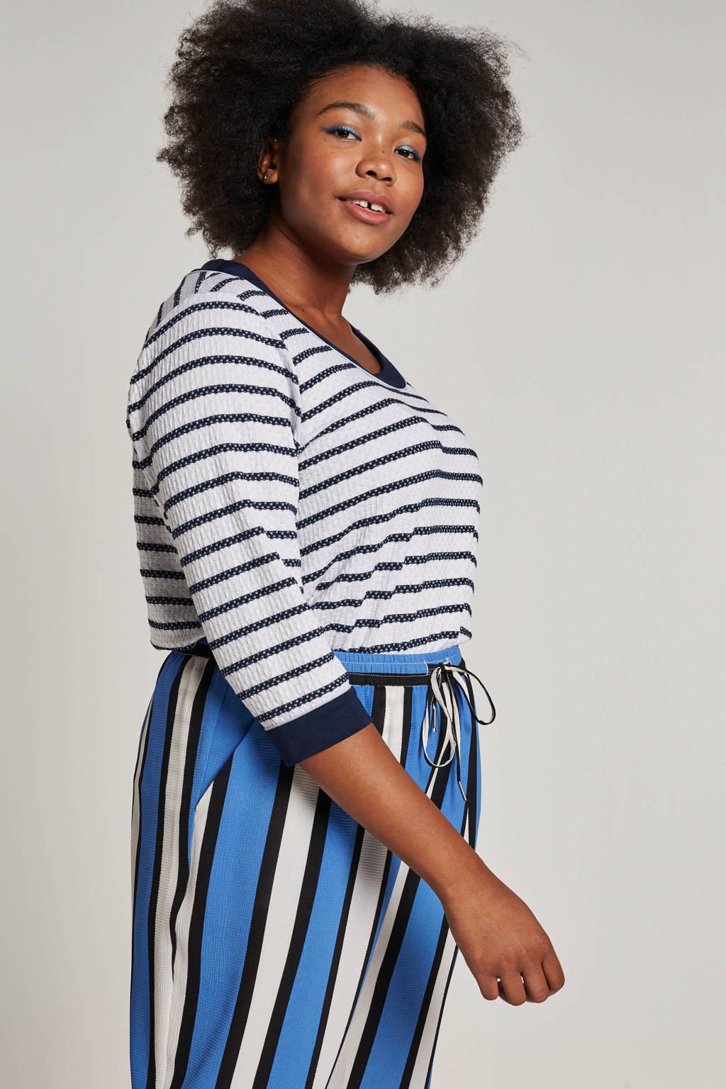 CHOISE t-shirt met strepen, Donkerblauw/wit