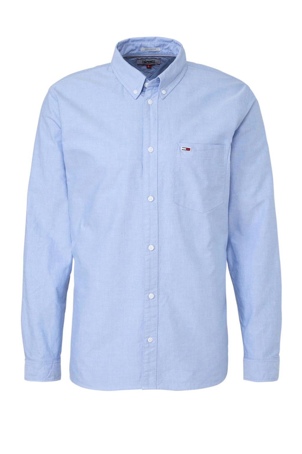 Overhemd Blauw.Tommy Jeans Regular Fit Overhemd Blauw Wehkamp