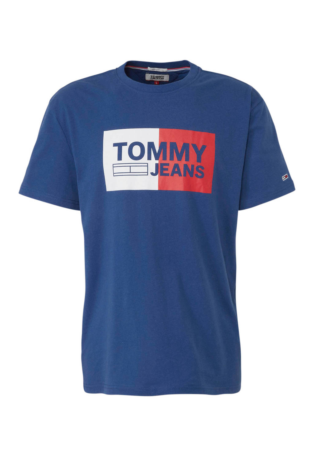 Tommy Jeans T-shirt met printopdruk blauw, Blauw/ wit/ rood