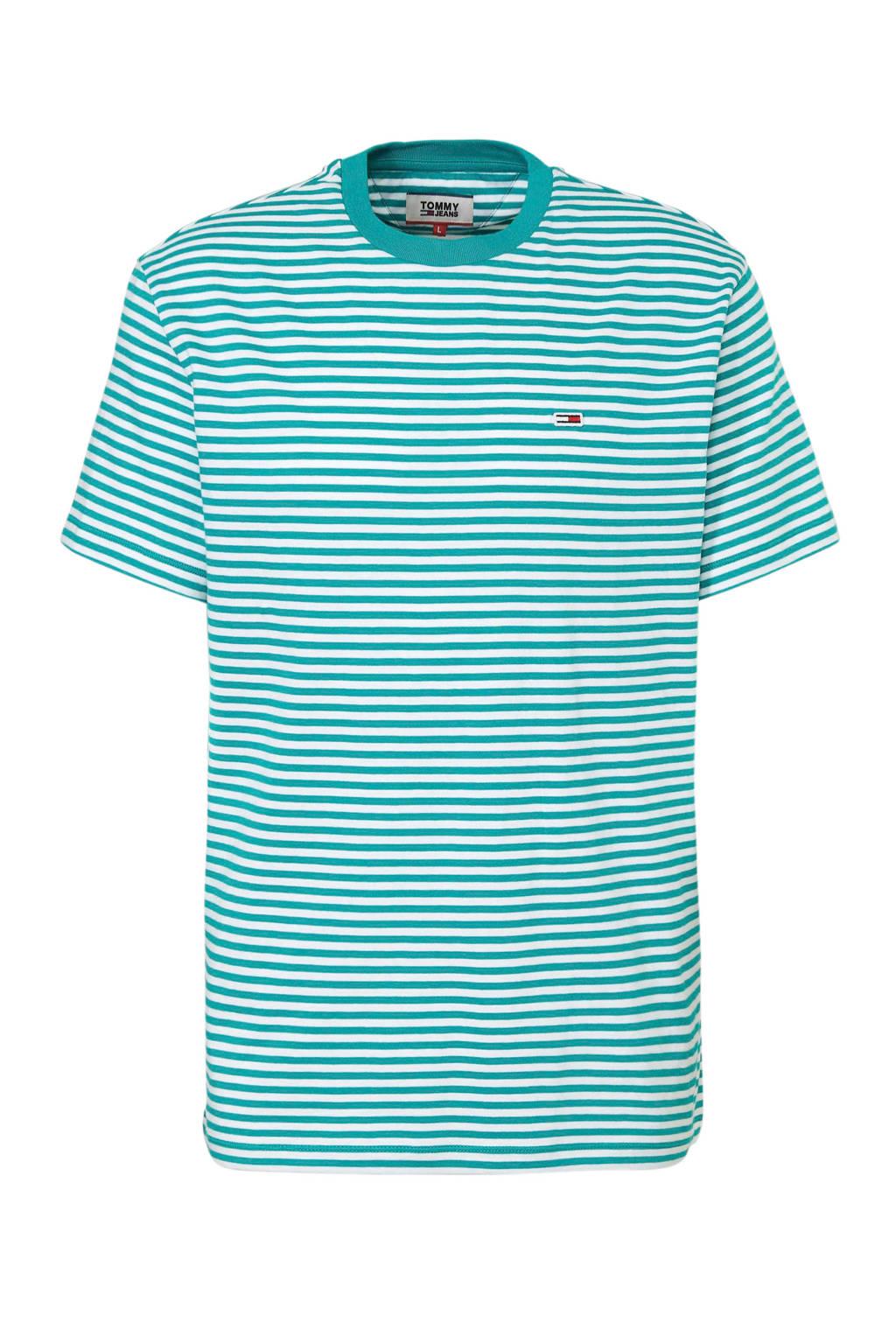 Tommy Jeans T-shirt met streepdessin groen, Groen/wit