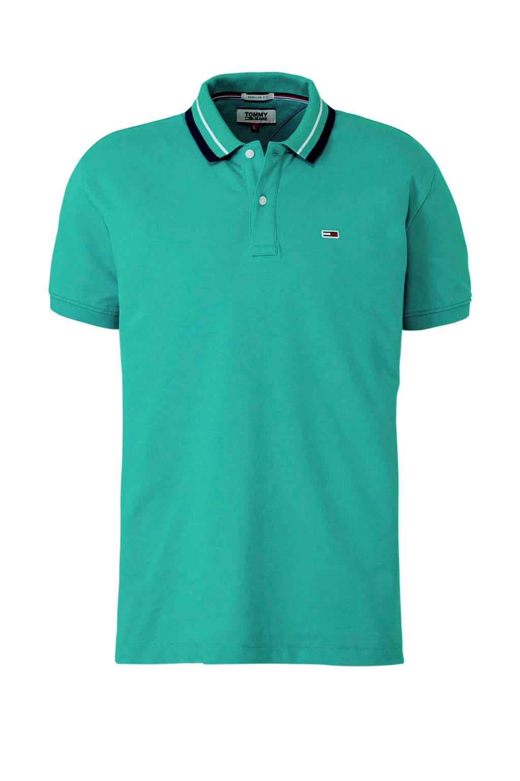 Tommy Jeans polo turquoise, Turquoise/ Zwart/ Wit