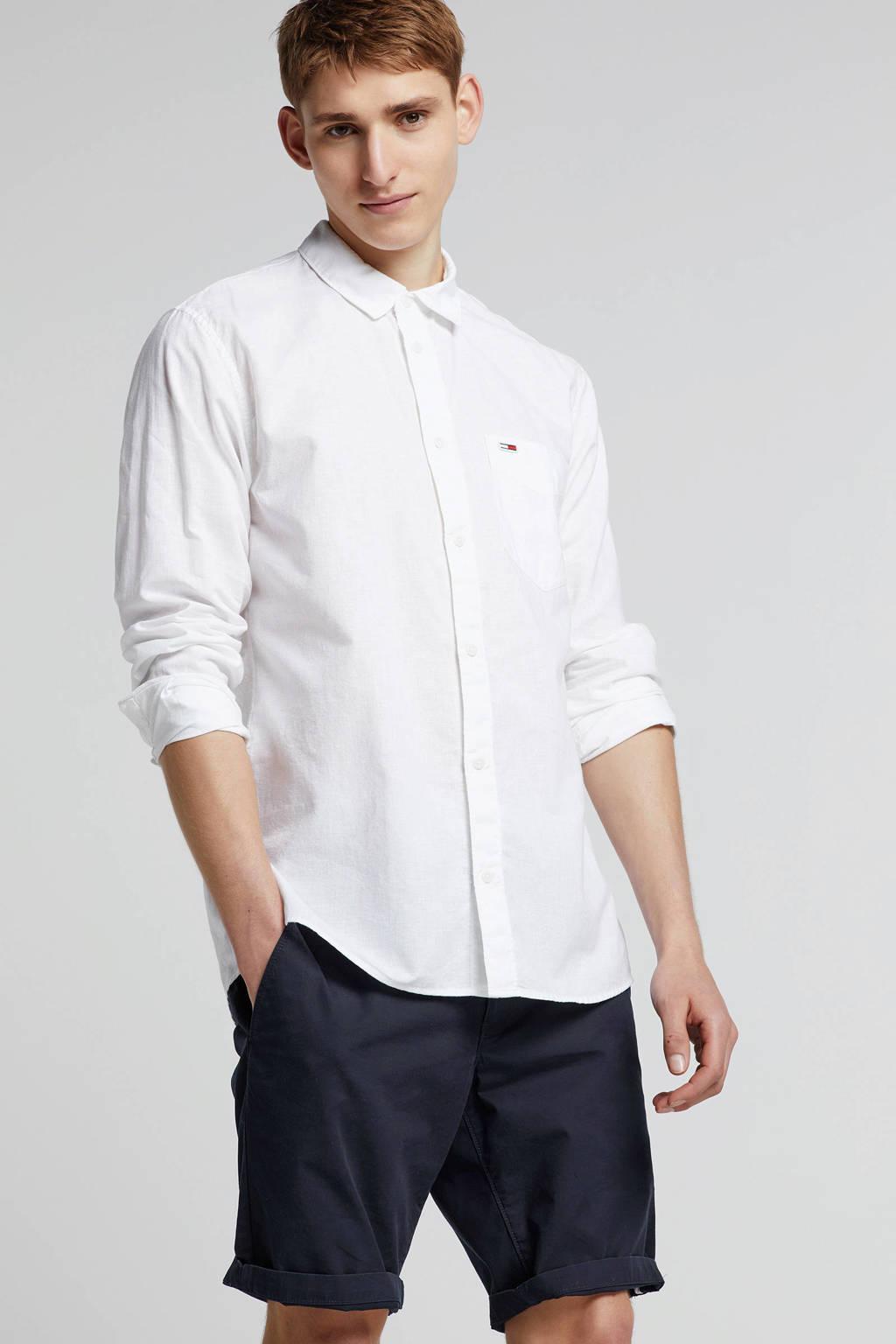 Tommy Jeans regular fit overhemd met linnen, Wit