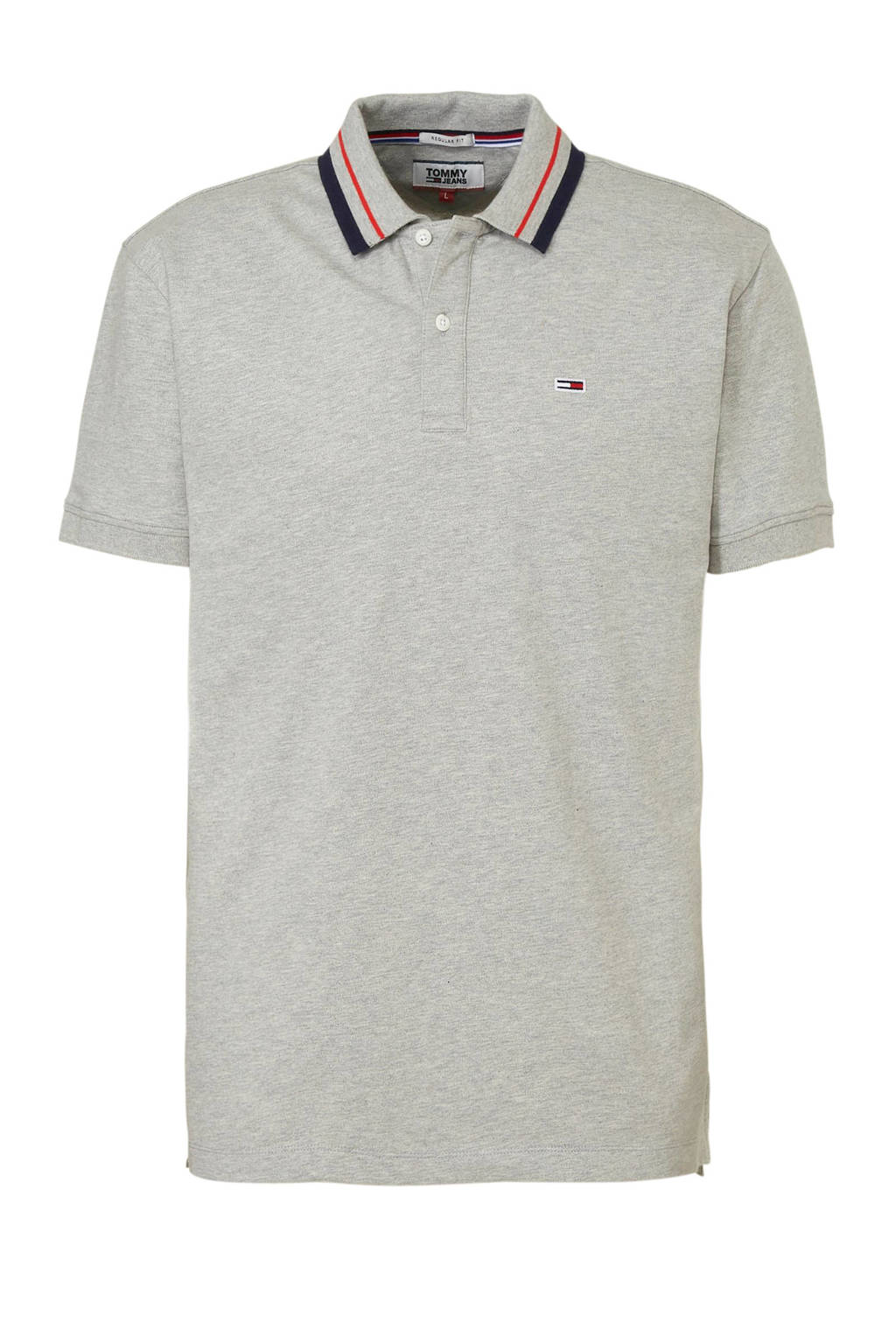 Tommy Jeans polo grijs, Grijs/ Rood/ Marine