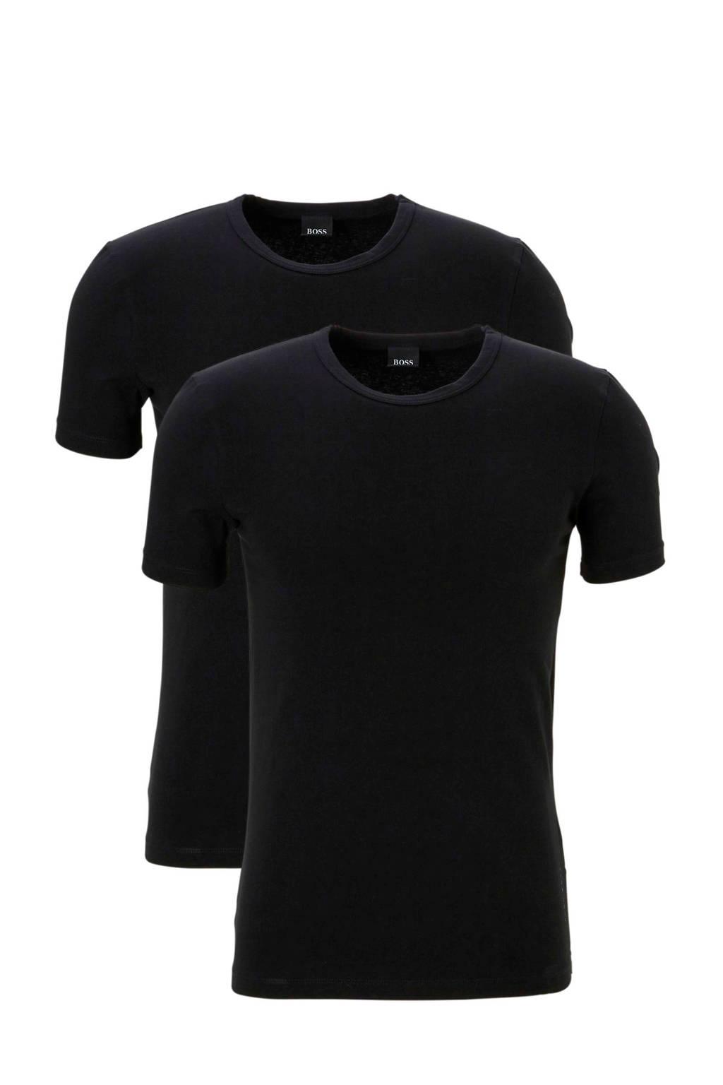 BOSS T-shirt (set van 2) zwart, Zwart