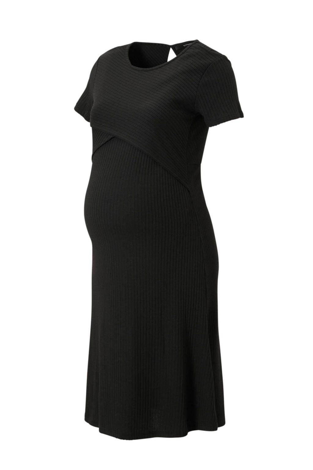 Supermom zwangerschap + voeding jurk zwart, Zwart