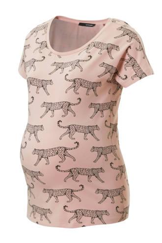 zwangerschaps T-shirt met panters roze