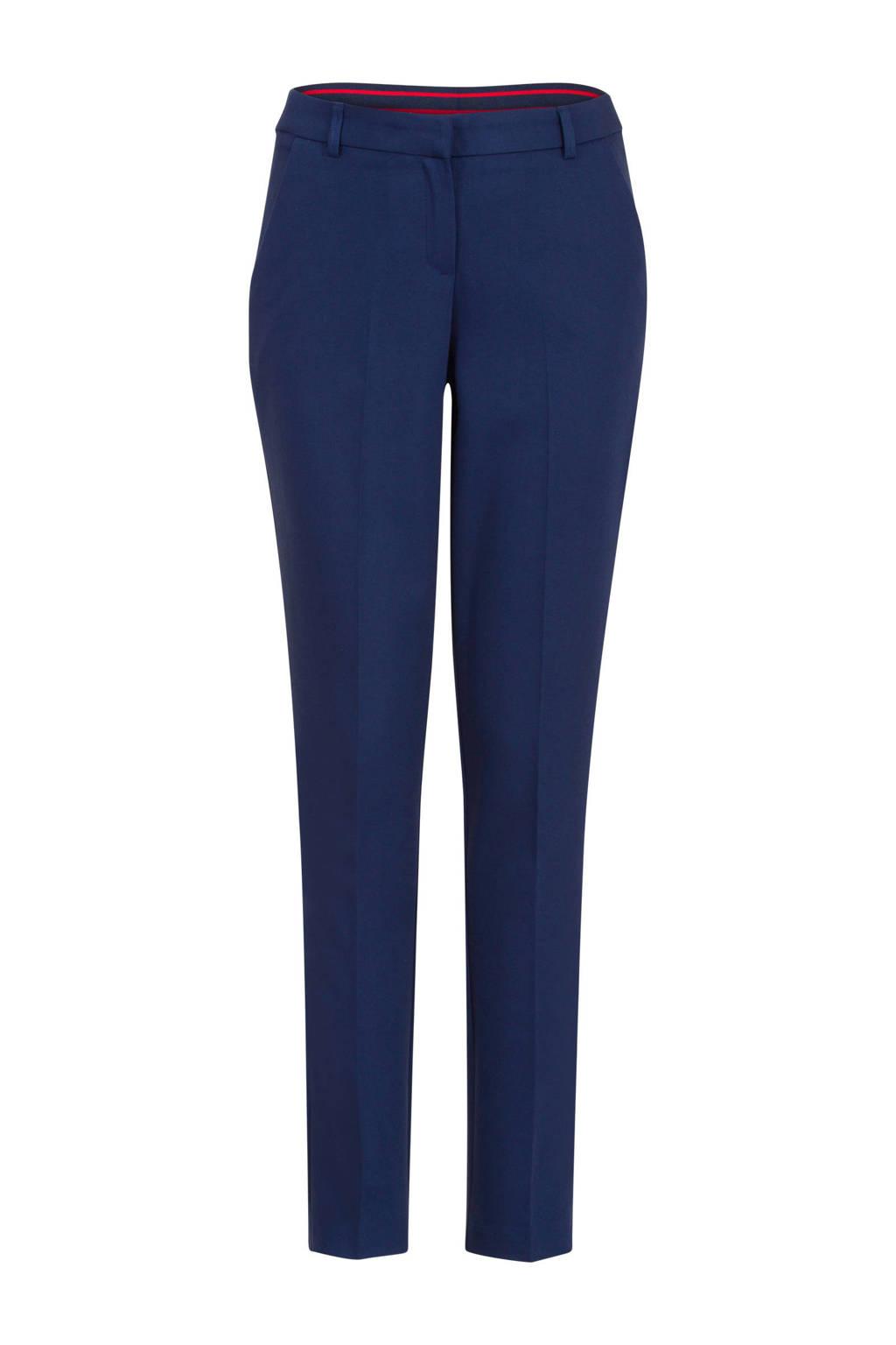 Steps slim fit pantalon met bies donkerblauw, Donkerblauw