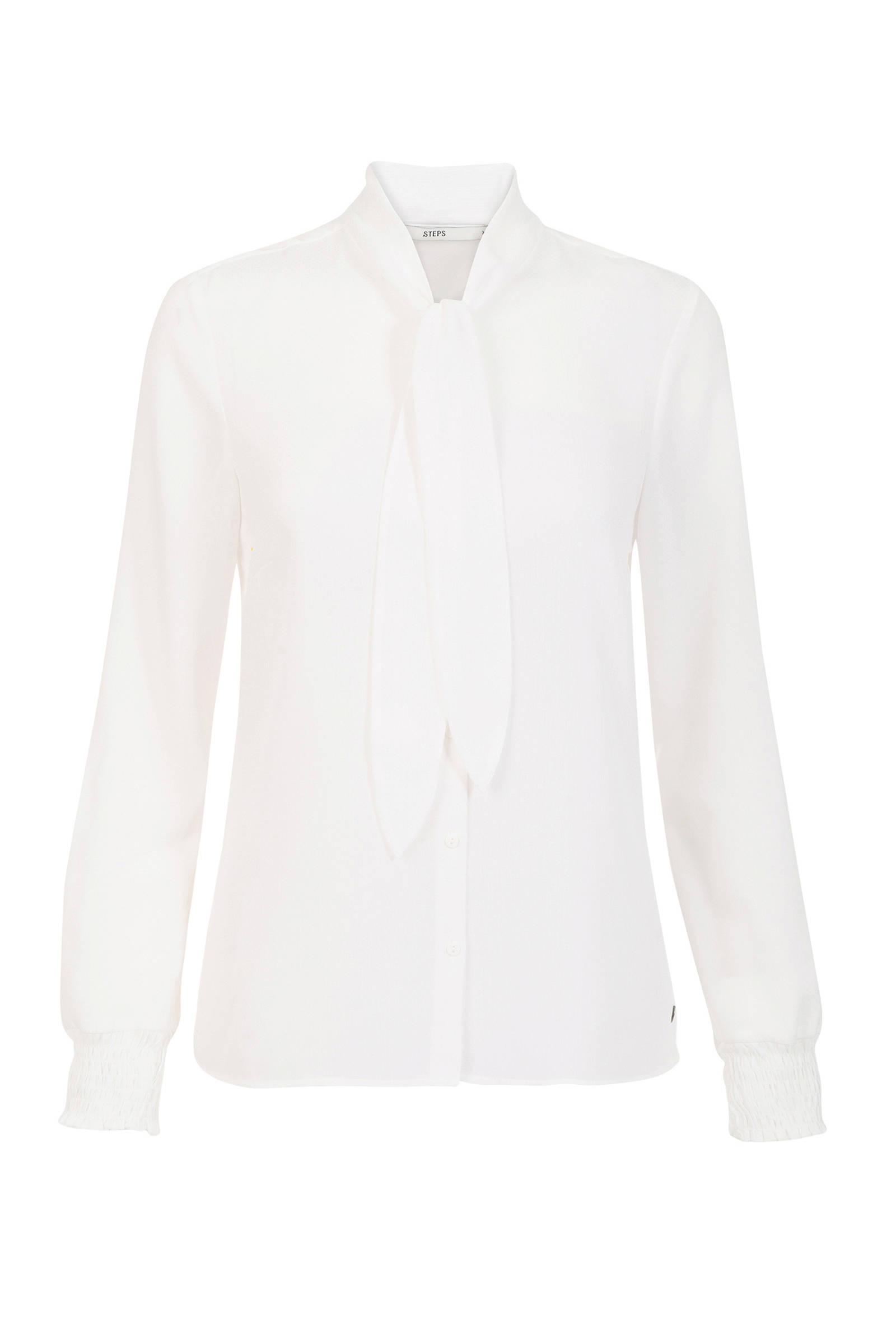 creme blouse met strik