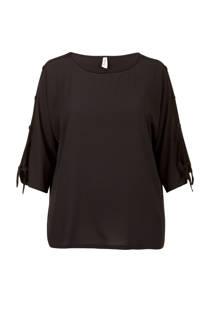 Miss Etam Plus top met sierknopen en opendetail zwart (dames)