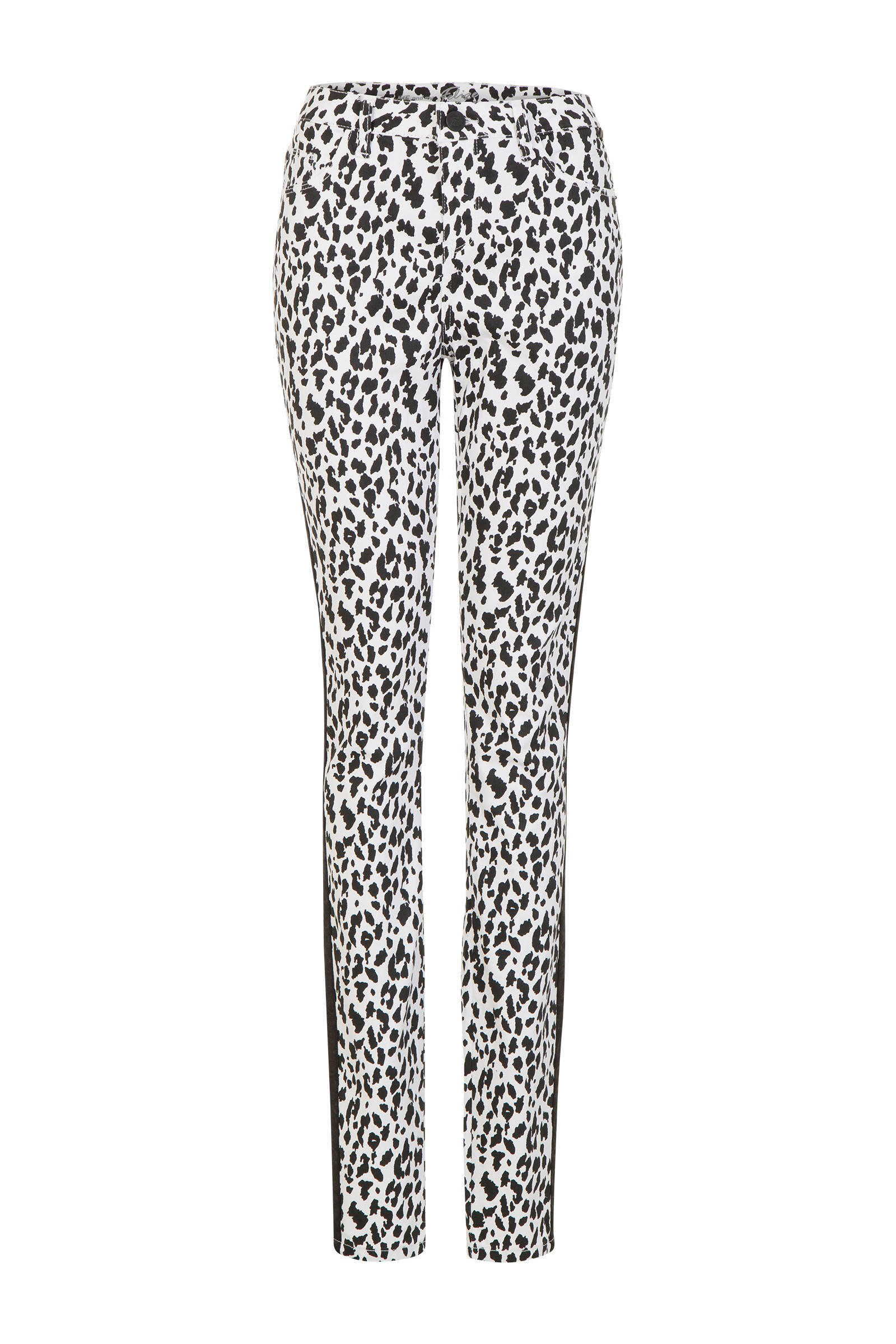 Miss Etam Lang slim fit broek met panter print en zijstreep