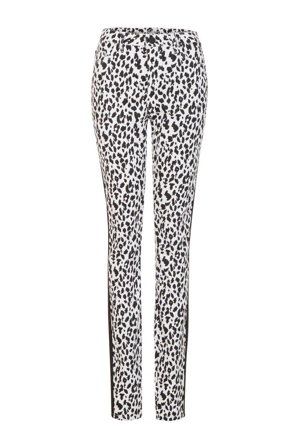 Miss Etam Lang slim fit broek met panter print en zijstreep, Zwart/wit