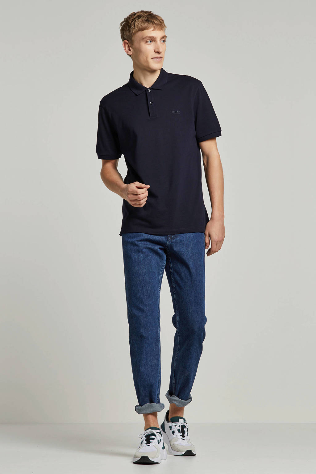Boss Business regular fit polo, Marine