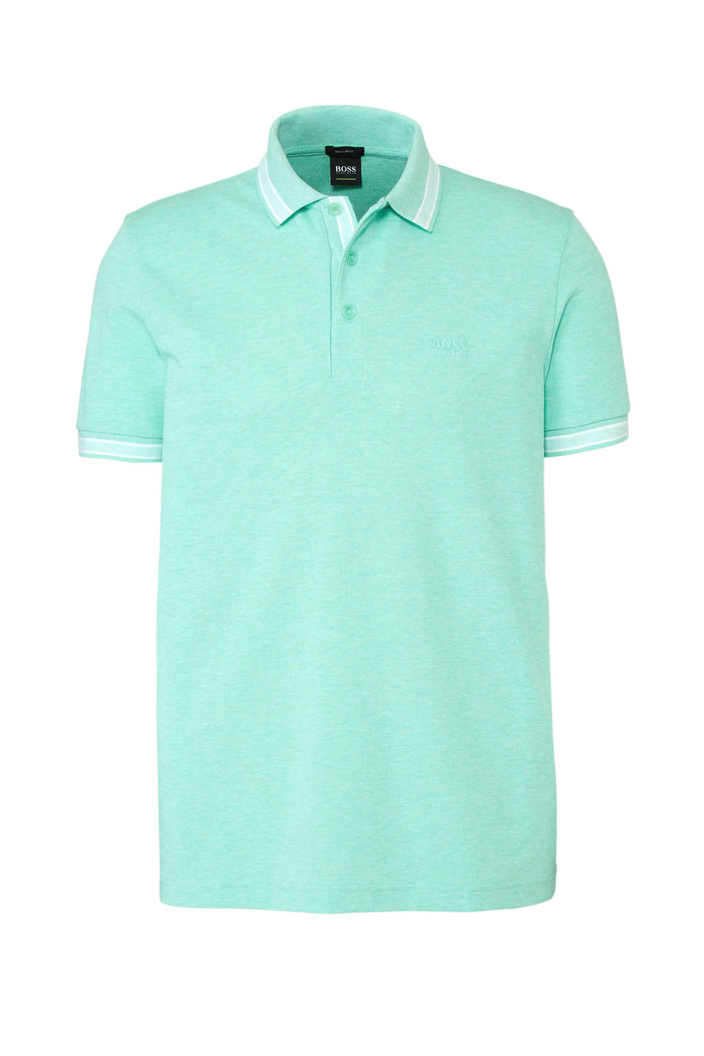 Boss Athleisure gemêleerde regular fit polo, Turquoise