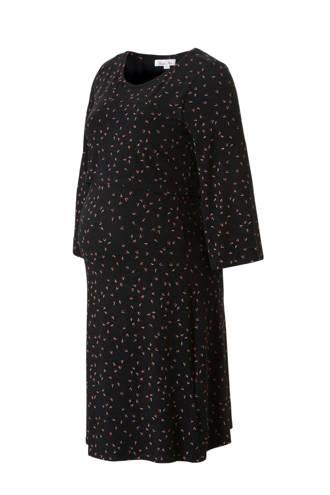 zwangerschap + voeding jurk met all over print zwart