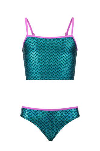 gevoerde bikini met all over print blauw