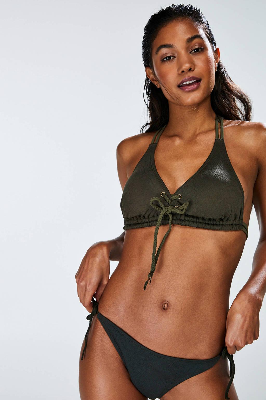 Hunkemöller bikinibroekje met textuur zwart, Groen
