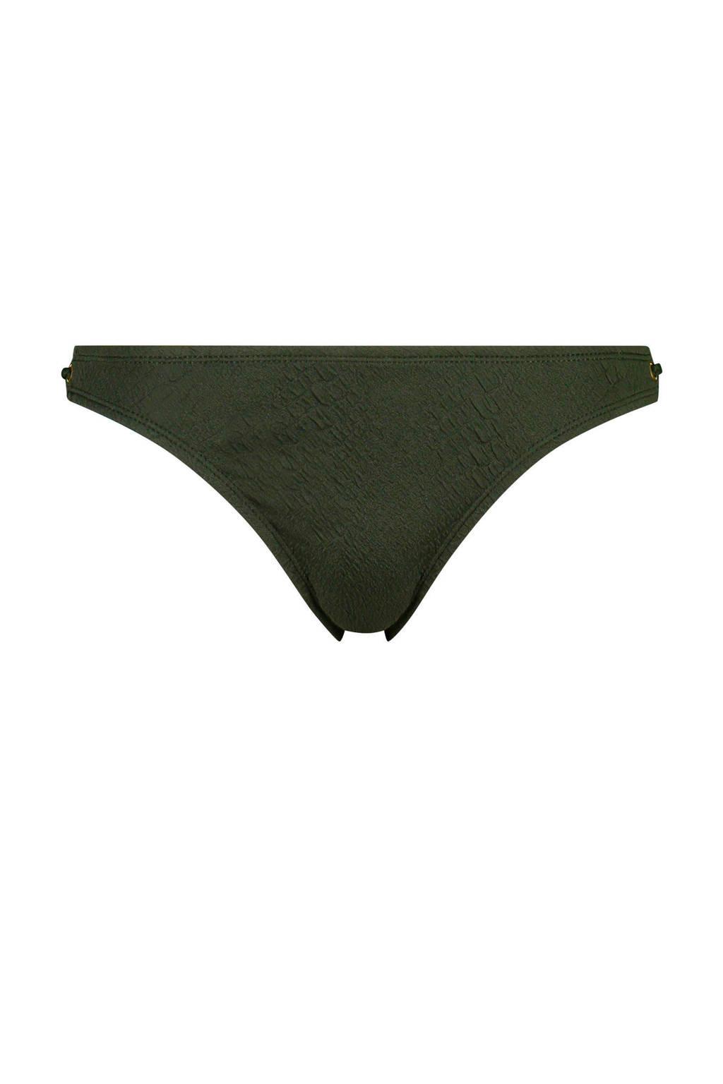 Hunkemöller Mix & Match bikinibroekje Amazonia met jacquard patroon kaki, Groen