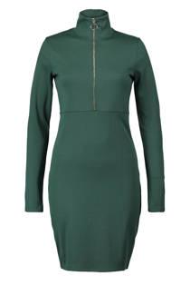CoolCat jurk met col donkergroen