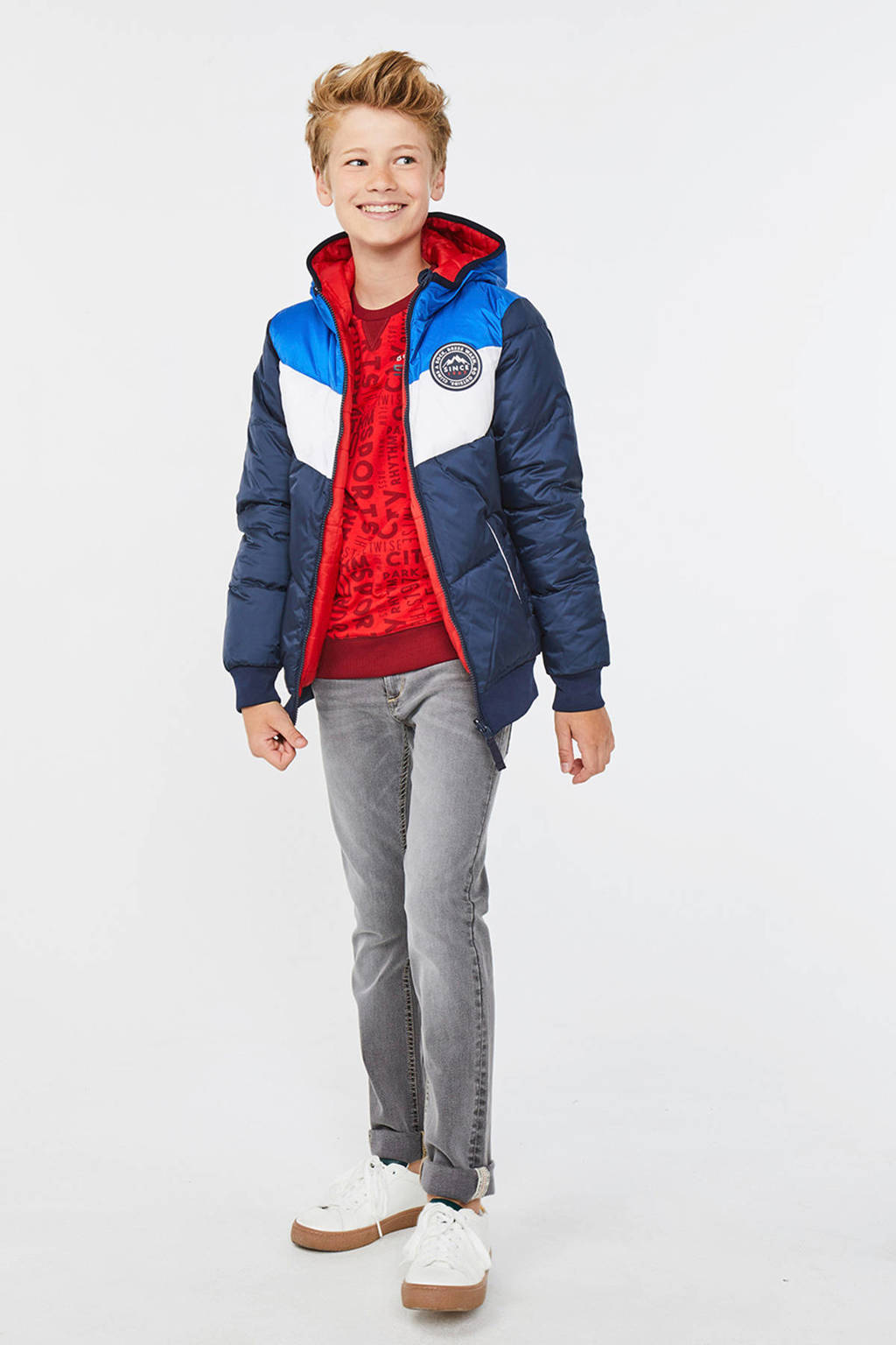 WE Fashion winterjas donkerblauw, Donkerblauw