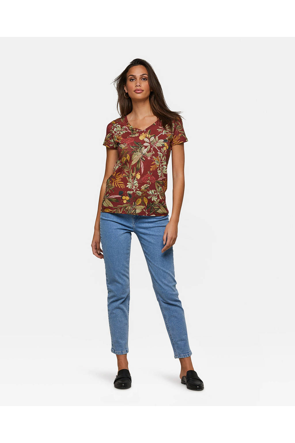 Donkerrood Jungle We shirt Print Met Fashiont Xn0qS