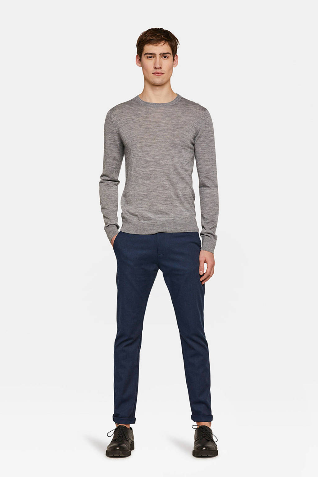 WE Fashion gemêleerde skinny chino marine, Marine