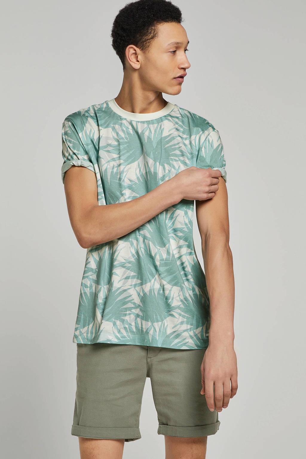 Boss Casual T-shirt met bladmotief, Groen/wit