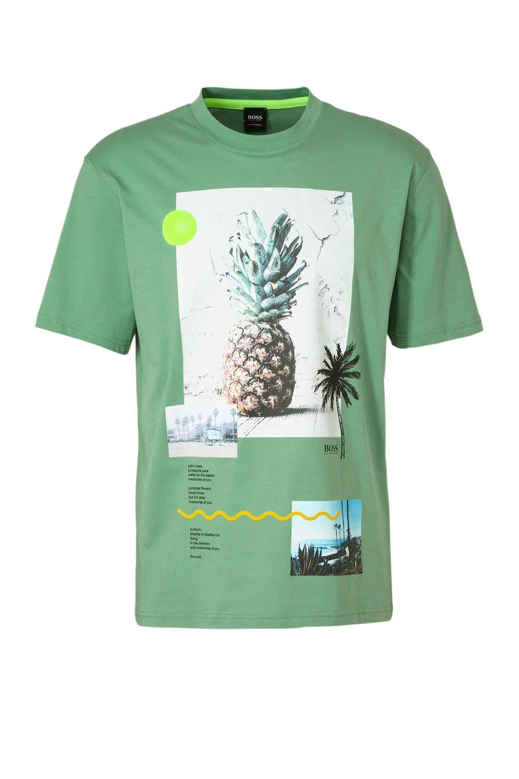 Boss Casual T-shirt met printopdruk, Groen