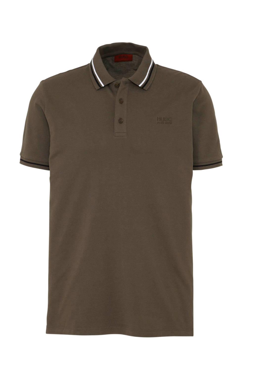 HUGO regular fit polo bruin, Bruin/wit/zwart