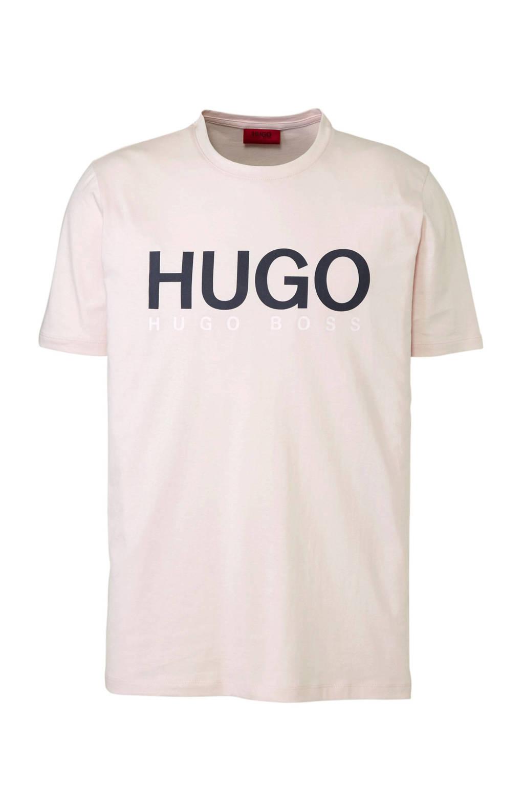 HUGO T-shirt met logo roze, Roze