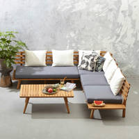 whkmp's own loungeset Kyoto, Naturel/Donkerblauw/Wit