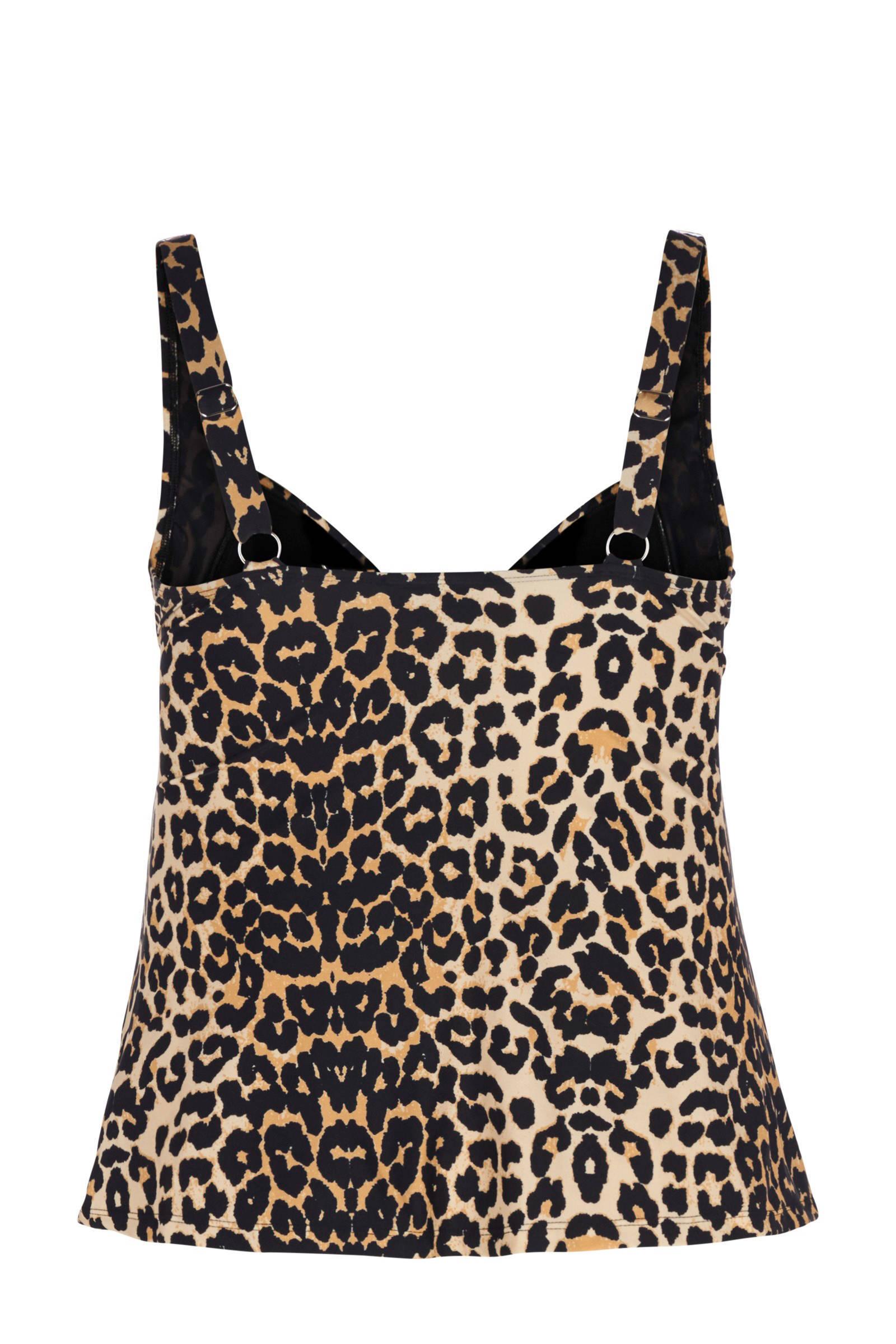 corrigerend tankini zwart Zizzi bikinitop panterprint met apOn5qwxd