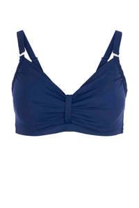 Zizzi bikinitop +size met plooien blauw, Blauw