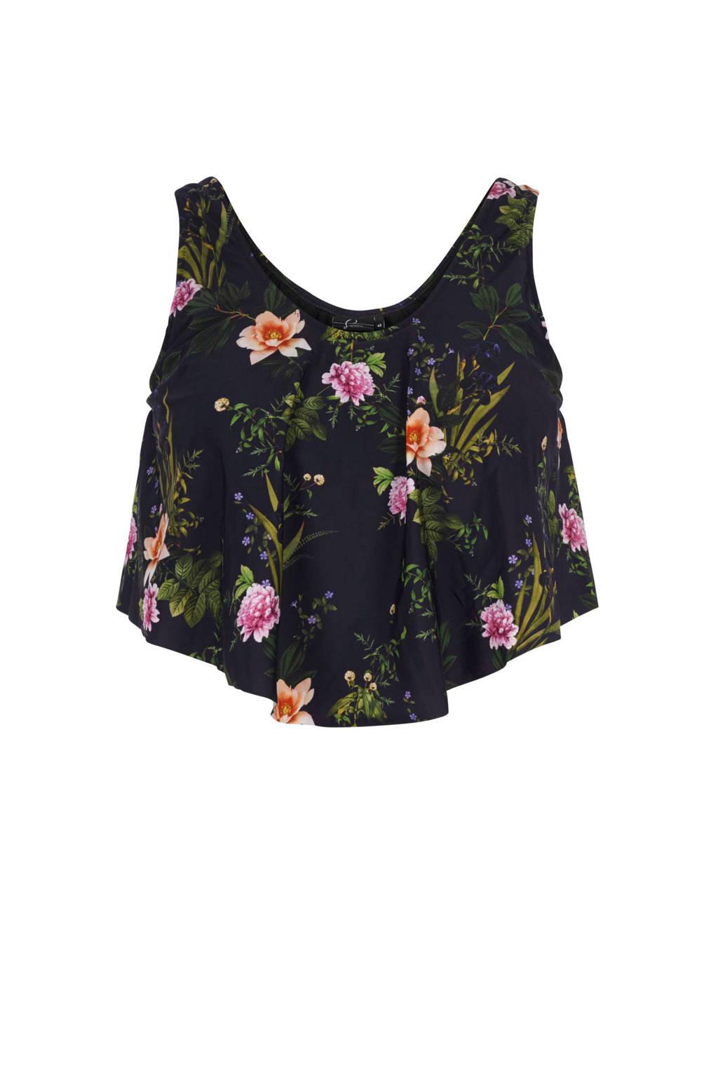 Zizzi corrigerende tankini bikinitop +size met all over print zwart, Zwart/groen/roze