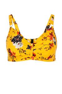 Zizzi beugel bikinitop +size met all over print geel, geel/rood/zwart