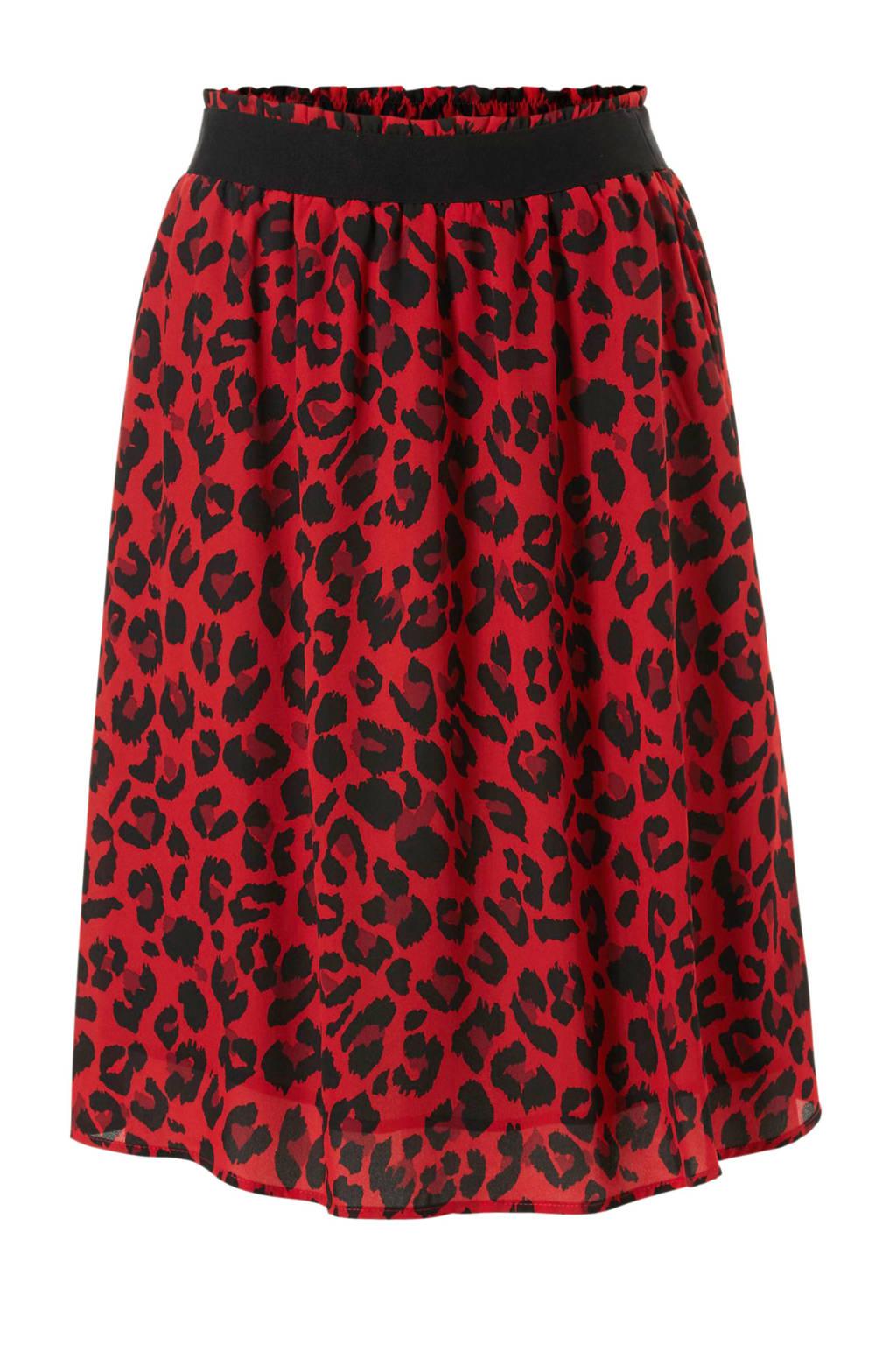 JACQUELINE DE YONG rok met luipaardprint, Rood/zwart