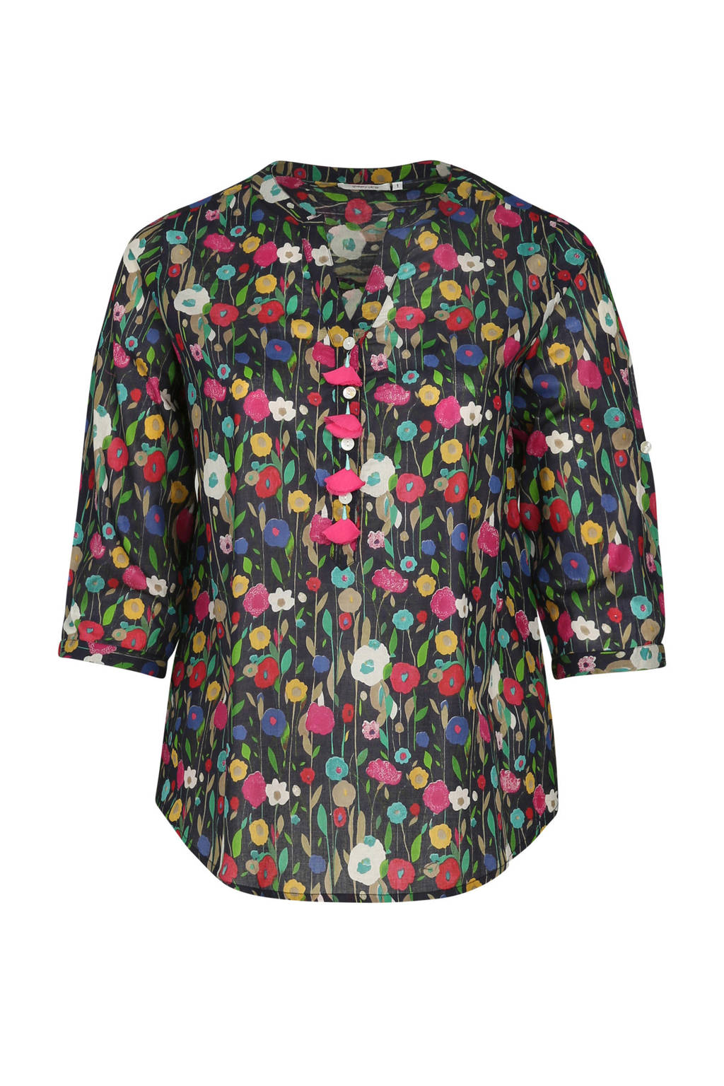 Paprika blouse met bloemenprint, Multicolor