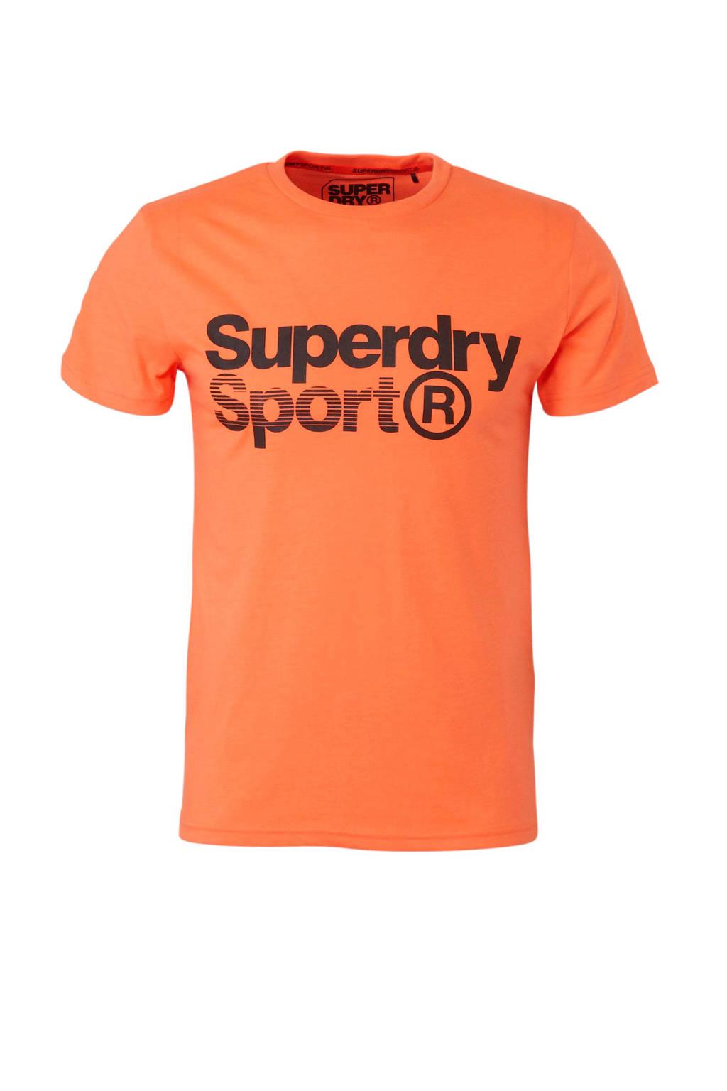 Superdry Sport   sport T-shirt met printopdruk oranje, Oranje