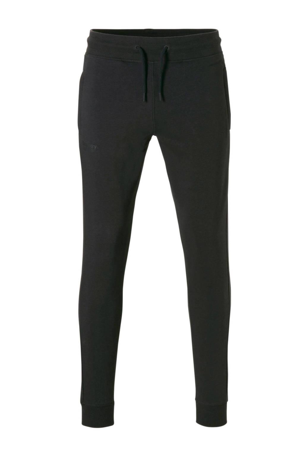 Superdry Sport regular fit joggingbroek met logo zwart, Zwart