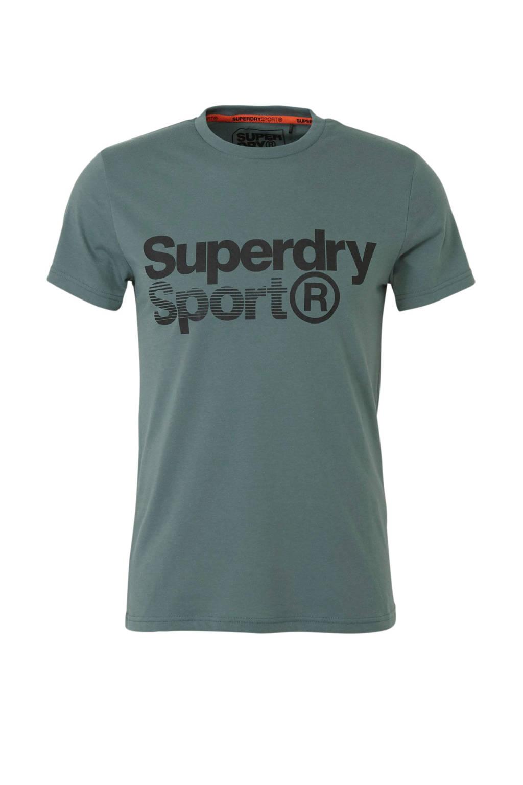 Superdry Sport   sport T-shirt met printopdruk olijfgroen, Olijfgroen