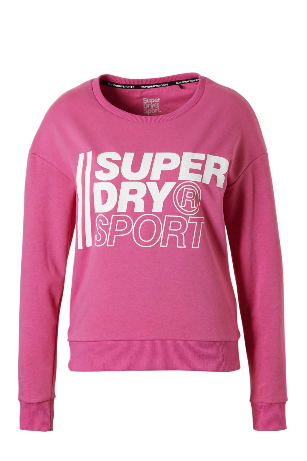Superdry Sport sportsweater roze, Roze/wit