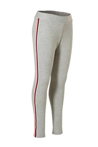 Here & There legging met zijstreep grijs